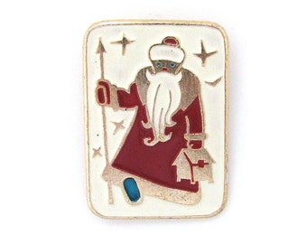 Santa Claus, Soviet Vintage metal collectible badge, Father Frost, New Year, Sale, Christmas, Vintage Pin, Made in USSR