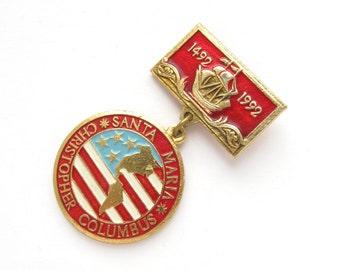 Christopher Columbus, Badge, 500 years, Santa Maria, America, 1492, Rare Soviet Vintage metal collectible pin, Made on 1992
