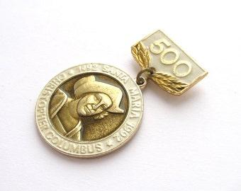 Christopher Columbus, Badge, Medal, 500 years, Santa Maria, America, 1492, Rare Soviet Vintage metal collectible pin, Made on 1992