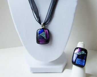 Statement jewelry set, dicro fused glass necklace and ring, adjustable ring, big bold jewelry set, abstract jewelry