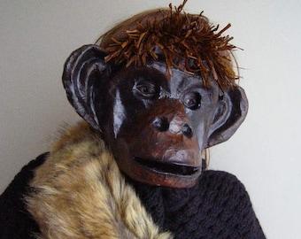 Masquerade masks Monkey mask Animal mask Paper mask Monkey costume Monkey head Paper monkey Paper mache mask