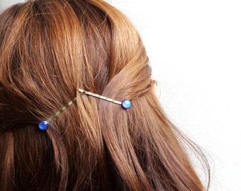 Navy Blue Bobby Pins Set of 2 Decorative Hair Pin Womens Gift Small Decorative Clips Bobby Hair Pins Glitter Hair Clips for Long Hair Clips