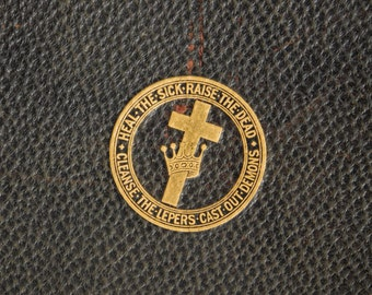 Mary Baker Eddy Book, Science and Health with Key to The Scriptures, 1934, Black Faux Leather Gilt Seal & Lettering, Christian Science Book