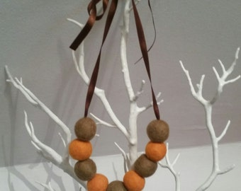 3 looks in 1 Taupe and Orange Felt wool ball necklace