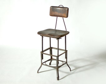 Old Vintage Shop Stool from RCA Plant