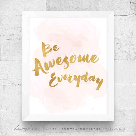 Motivational Print Gold Quote Girl Bedroom Wall Quote Be