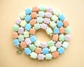 Vintage Pastel Cube Summer Necklace ~ 1960's Czech harlequin pale blue orange lime green lemon yellow white kitsch candy beads rockabilly