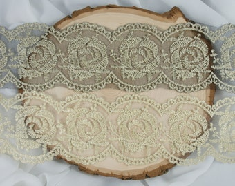 6.5cm Rose Lace Trim - Black Rose Lace - Gold Rose Lace - 1 yard 5 yards or 10 yards