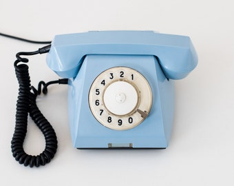Rotary phone - Soviet telephone - Pale blue phone - Russain retro - Made in USSR - VEF TA-68
