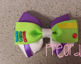 PRE ORDER Hand made Disney toy story buzz light year character inspired hair bow