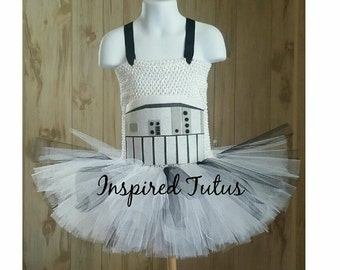 Stormtrooper tutu.  Sizes newborn to girls 10/12.  More Star wars characters available.
