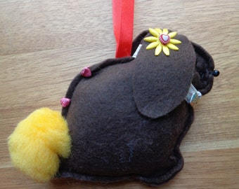 Hand made brown felt Lop eared Bunny Rabbit hanging decoration
