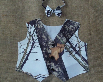 2 pc Boys and Men vest & bow tie set. Great for weddings  #4 in fabric selection Mossy Oak White Satin. 22 Other camo colors
