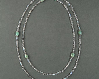 "Necklace mother of Pearl ""Flash Summer"": Pearl and gemstone (Labradorite, Jasper green & silver)"