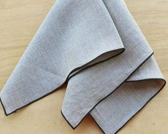 Natural Linen Napkins, Organic Napkins, Cloth Dinner Napkins, Organic Wedding, Wedding Napkins, Choose Your Trim Color, Set of 4, 20""