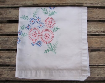 Gorgeous Vintage  Hand Embroidered LinenTablecloth - Floral - Pink and Blue