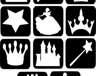 Refill Stencils Only #2 - 11 X Princess Glitter Tattoo Stencils Refill Your Glitter Tattoo Kit