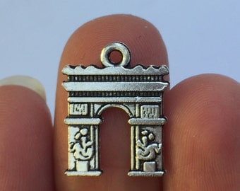 6 Arc de Triomphe Charms Antique Silver 18mm x 14mm - SC952