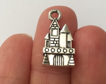 6 Castle Charms - Antique Silver SC681