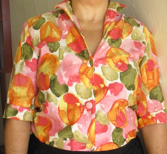 1960s maternity blouse size 10, excellent condition, Sixties cotton Shaheen blouse with pointed collar
