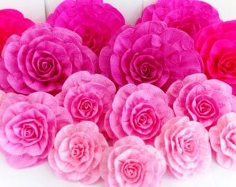 12 paper flowers wall large giant backdrop bridal kate bridal baby shower pink spade victoria backdrop Photo Wedding party Nursery  secret