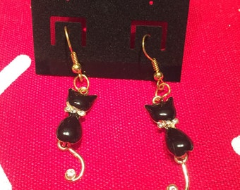 Retro Black Cat Earrings