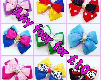 Special Offer - Any Four Charm Hair Bows for Ten Pounds - FREE UK SHIPPING