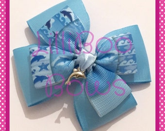 Handmade Dolphin Charm Hair Bow