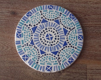 Below of dish round mosaic blue colors