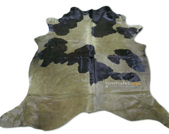 Dyed Olive Green Cowhide Rug Size: 7.3 X 6.7' ft Dyed Olive Holstein Cow Hide Skin Rug i-506
