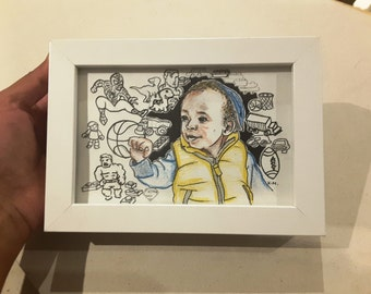 Framed original handmade doodle art with your face on it - MINIDOODLE