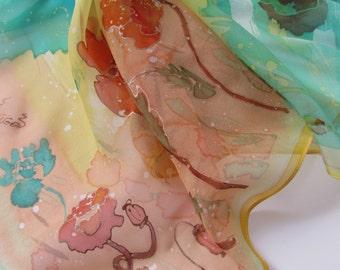 Hand painted silk scarf 27x 27 inc.  Маки, батик платок .69 х 69 см. Натуральный шелк