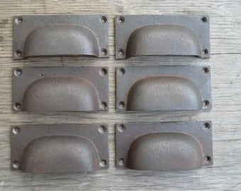 A set of 6 solid cast iron Industrial style drawer pulls AL12