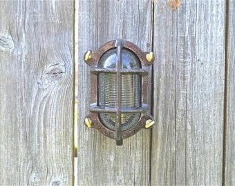 Industrial cast iron oval engine room bulkhead wall light ribbed glass lamp nautical ship light