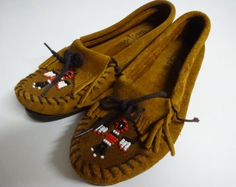 Vintage Minnetonka Women's Leather Beaded Moccasins Size 7 - FREE SHIPPING