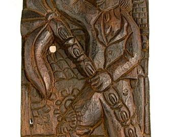 Vintage Brazilian Folk Art Carved Wood Wall Hanging: Coconut Cutter