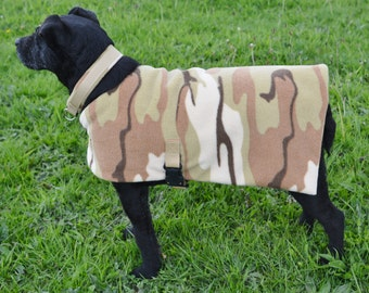 Fleece dog coat - Desert Camouflage
