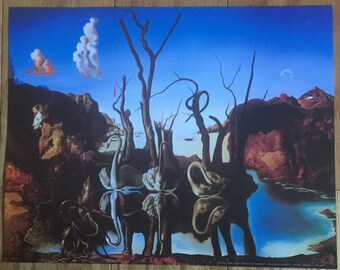 Salvadore Dali  Swans Reflecting Elephants  print poster wall art 11 x 14