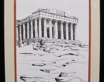 Vintage John Ratekin Pen and Ink Drawing of The Parthenon