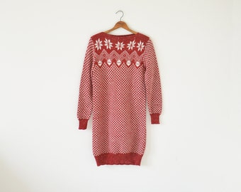 80s sweater dress / Holiday sweater / vintage knitted dress
