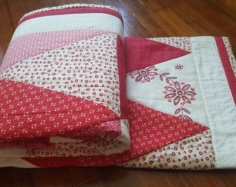 "SALE***FREE SHIPPING! Triangle Quilt 57"" x 78"" Red/White & Cream with Vintage Embroidery. Hand made by me!"