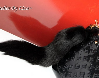 Black Fox Tail Keychain Real fox tail Bag Charm Gift idea Fur Keyring Ready to Ship!