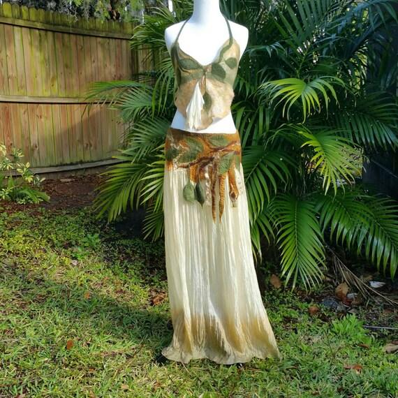 Nuno felted woodland fairy skirt elven pixie dress burning for Woodland fairy wedding dress