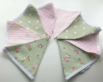 Pink and Sage Green Floral, Spotty and Stripe Bunting