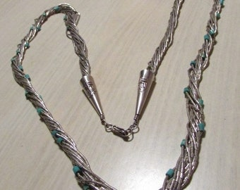 """Liquid Silver and Turquoise 10 Strand 24"""" Necklace"""