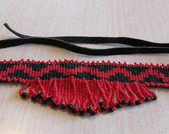 Black with Red Zig Zag Design Seed Bead Choker. Handmade