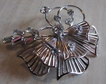 T K Sterling Silver Rhinestone Pin