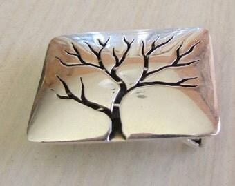 Sterling Silver Shadow Box Tree Belt Buckle