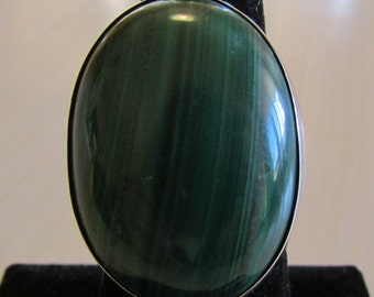 Large Sterling Silver and Malachite Ring. Size 7