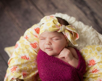 Spring in bloom swaddle blanket and headband